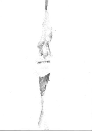 Sorgenfalte, 2019, A6, Hinterseite, Bleistift auf Papier