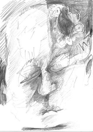 Sorgenfalte, 2019, A6, Vorderseite, Bleistift auf Papier