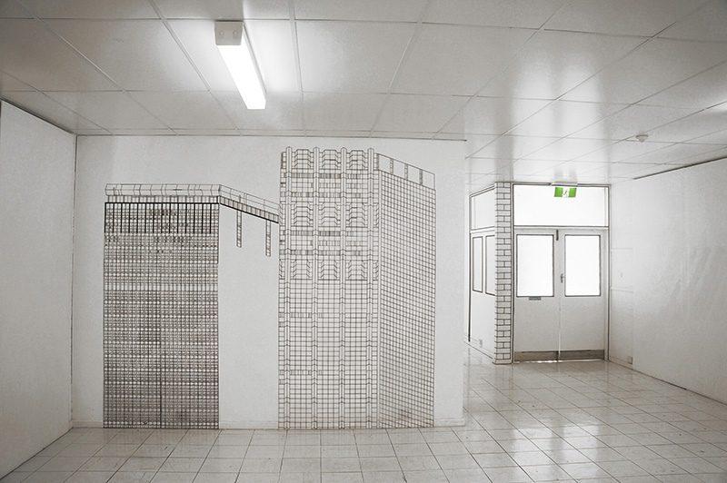 Blocks  2012 Installation im Raum Isolierband schwarz, Papier schwarz