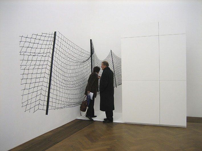 Bild mit Netz  2007 Fotokarton schwarz, Holz 350 x 316 x 272 cm