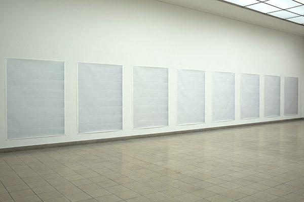 MOVEMENT 1-9, 2011, Öl auf Papier, 9 Teile: je 200 × 150 cm, Ausstellungsansicht Kunsthaus Glarus, 2015