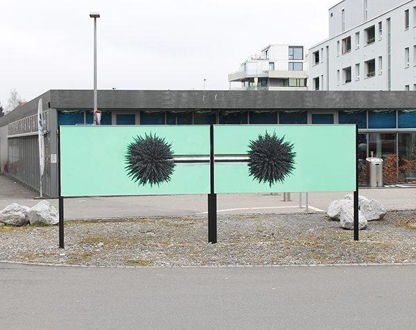 SUPER UREKI, 2014, Digitaldruck auf Plakatwand, 200 × 600 × 20 cm, Projekt Felix, Bern