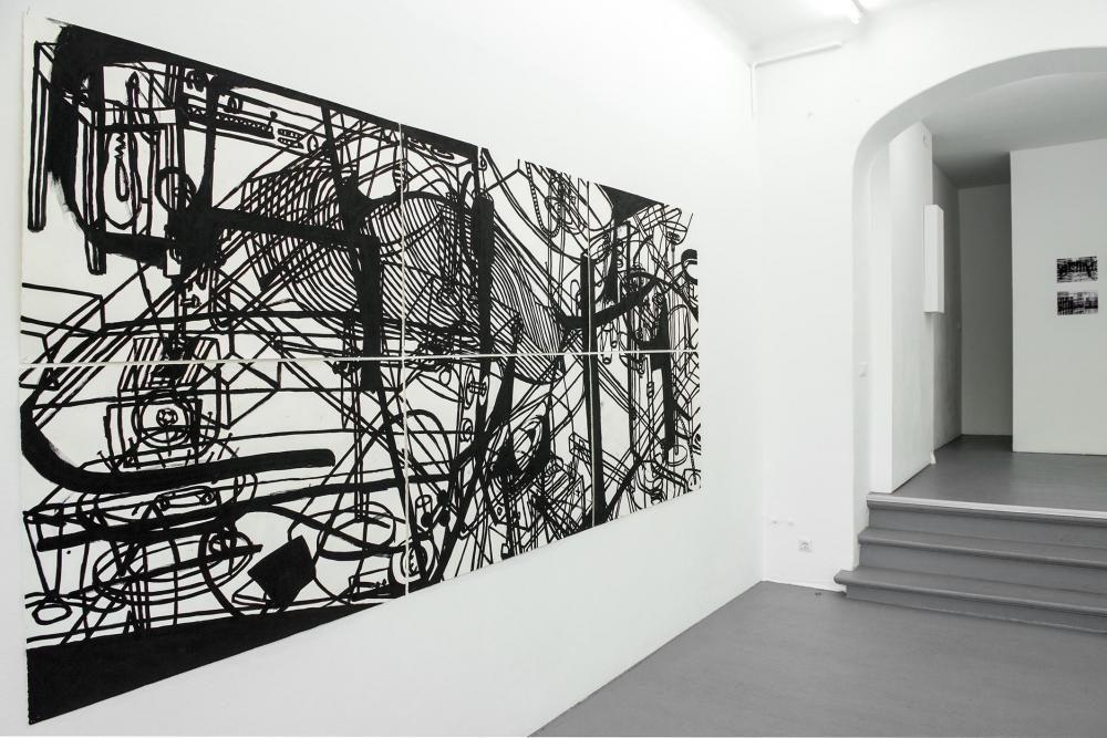 Galerie Gilla Lörcher, Berlin, 2014 / 'ohne Titel' Acryl auf Papier, 300 x 150 cm, 1989 / Foto: Ute Schendel