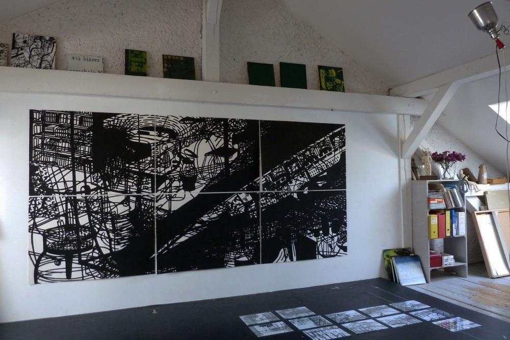 Zeichnung, 'ohne Titel', Acryl auf Papier, 300 x 150 cm, 1991, Atelier