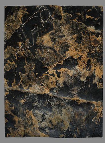 "bestickte teichfolie, rost, erde  "" broder dans le noir "" 2015  40 x 30 cm"