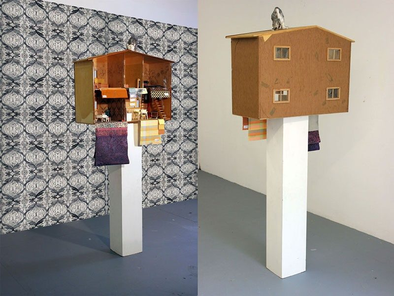 My house is your house 2014, 200x200x200cm, Puppenstube, Zeichnung, Print, Modelliermasse
