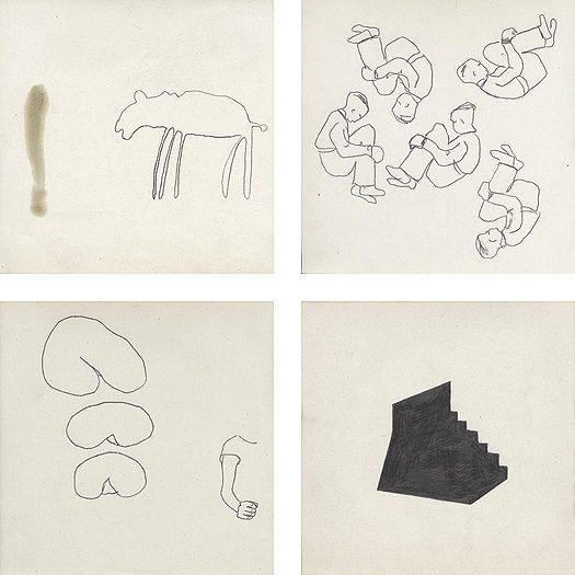 Bleistift, Ölfarbe und Kohle auf Papier, je 21 × 21 cm