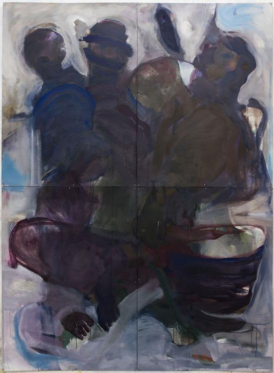 Malerei 220x160cm, 4-teilig, Eitempera auf Graukarton