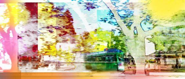 """Kurve"" richtung Joggeli 2015 Video-still Komposition, pigmentierte Tinten auf Leinwand 77 cm x 180 cm"