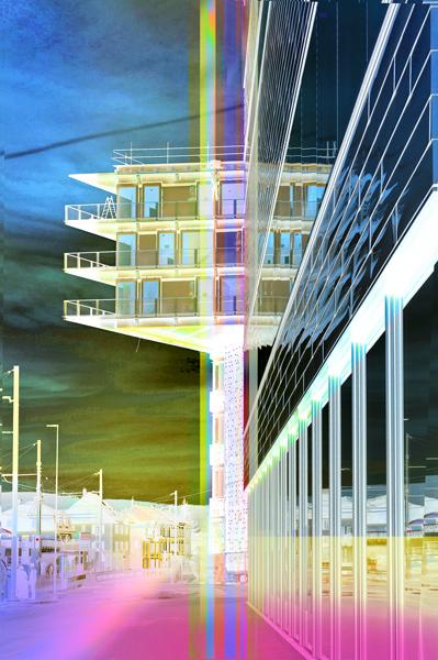 """Impression,Transition""1 Transitlager Project Dreispitz, Fotografie Komposition, pigmentierte Tinten auf Papier 48 cm x 32 cm"