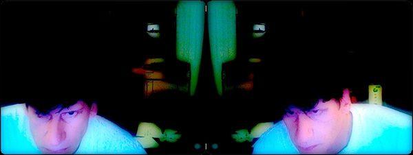 """""""Flip / Oblique"""" Self-portrait / Fotografie Komposition, pigmentierte tinten auf Papier 18 cm x 48 cm"""