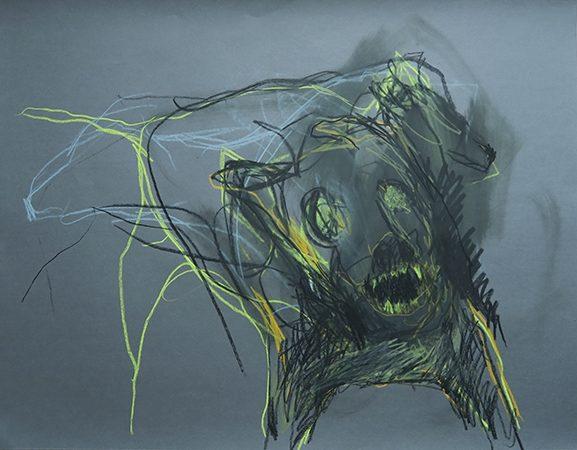 Höllenhund II, Ölkreide auf Papier, 65 x 50 cm, 2014
