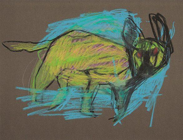 Nachttier I, 25 x 21cm, Ölkreide auf Papier, 2012