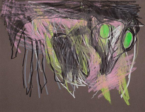 Nachttier II, 25 x 21 cm, Ölkreide auf Papier, 2012