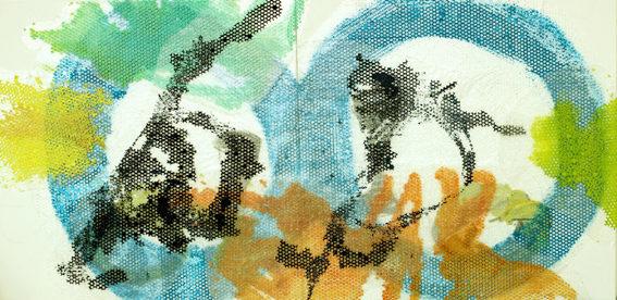 DER ANTRAG 2014 Mischtechnik und Acryl auf Luftpolsterplastik auf Leinwand 100 x 200 cm