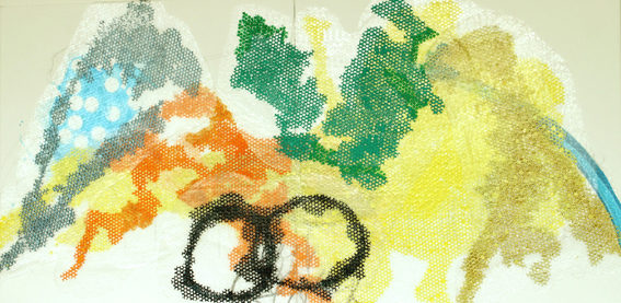 DIE EINWILLIGUNG 2014 Mischtechnik und Acryl auf Luftpolsterplastik auf Leinwand 100 x 200 cm