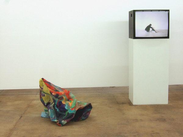 VON INNEN NACH AUSSEN 2009 DVD der Performance Monitor, Sockel 2 Ölbilder zusammen genäht 160 x