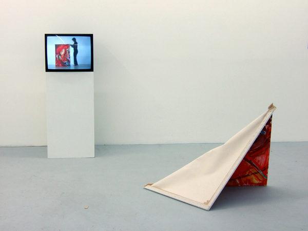 ÜBERSPANNTES BILD 2008 DVD der Performance Monitor, Sockel Ölmalerei, Baumwolle Keilrahmen 160 x