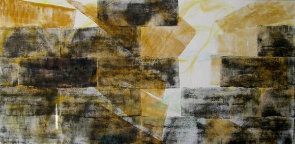 2015 Mauer mit Kreuz / Aeonen-Geschichte Acryl / Dispersion a. Lw 160 x 330