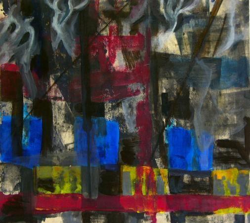 2000-15 HomsIII / fallende Stadt Acryl/Eitempera/Asche auf Holz 55 x 61