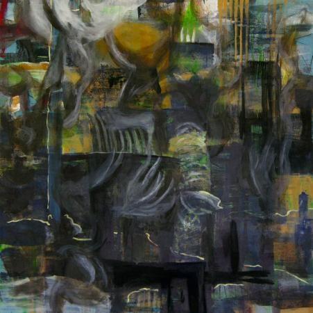 2000-15 Homs VI / Basra Oel/Eitempera/Asche auf Holz 80 x 80