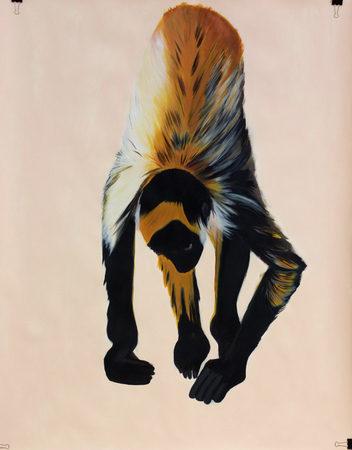 Affenstudie, 2017, 107 x 136 cm, Acryl auf Papier