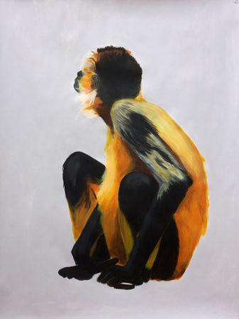 Affenstudien, 2017, 108 x 137 cm, Acryl auf Papier