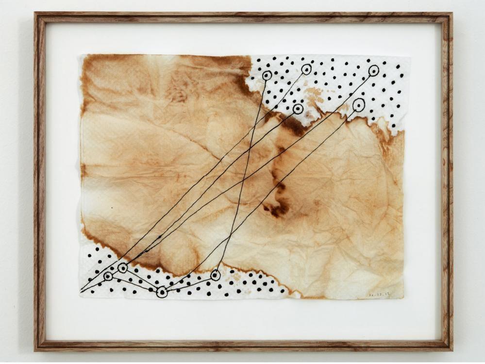Kaffeelandschaft, 2013, Mixed Media auf Serviette, 25 x 18 cm
