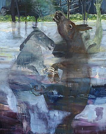 Mademoiselle Julie, Monsieur Socrate et L'anderer(L'attentat) 2010 165x130cm Oel auf Leinen