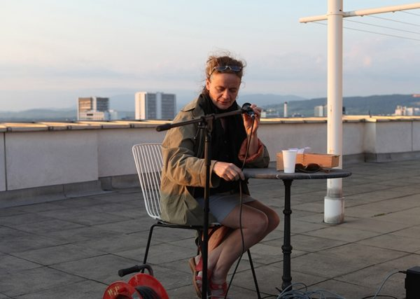 """Ilse Ermes Wörterbuch der Zoologie"" (Ilse Ermen's Dictionary of Zoology), Lecture Performance in Basel, Rooftop Readings, 2013"