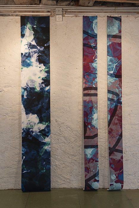 bridges: verblühte 1, 2 und 3, 2015; Pigmentdruck auf Hahnemühle Photo Rag. Format: 2 x je ca 254 x 20 cm und 1 x ca 254 x 40 cm