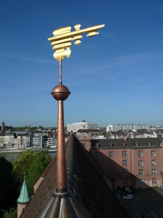 Windfahne, 2011, Kupferblech vergoldet, Klingentalkirche Basel