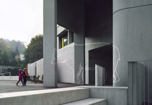 Anamorphosen, 2009, Acrylfarbe auf Sichtbeton, Kunst und Bau Schulhaus Inwil mit Evelyn Steiner