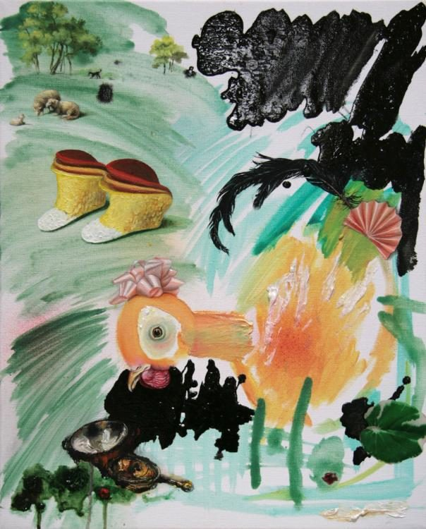Das Frausein füllt die Luft, 2014, Öl, Acryl, Kunststoffblatt auf Leinwand, 50 x 40 cm.