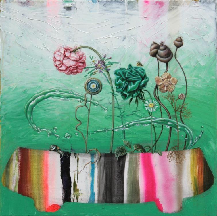 Natürliche Szene, 2016, Öl, Acryl auf Leinwand, 40 x 40 cm.