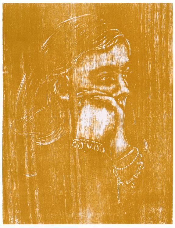 Alissa, Holzschnitt  51 x 39 , ein Druckstock, 2017