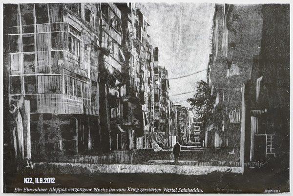 Aleppo, 2014, 98 x 146 cm, Holzschnitt einfarbig schwarz auf Japanpapier