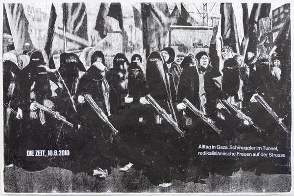 Gaza, 2014, 98 x 146 cm, Holzschnitt einfarbig schwarz auf Japanpapier