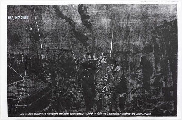 Rafah, 2014, 98 x 146 cm, Holzschnitt einfarbig schwarz auf Japanpapier