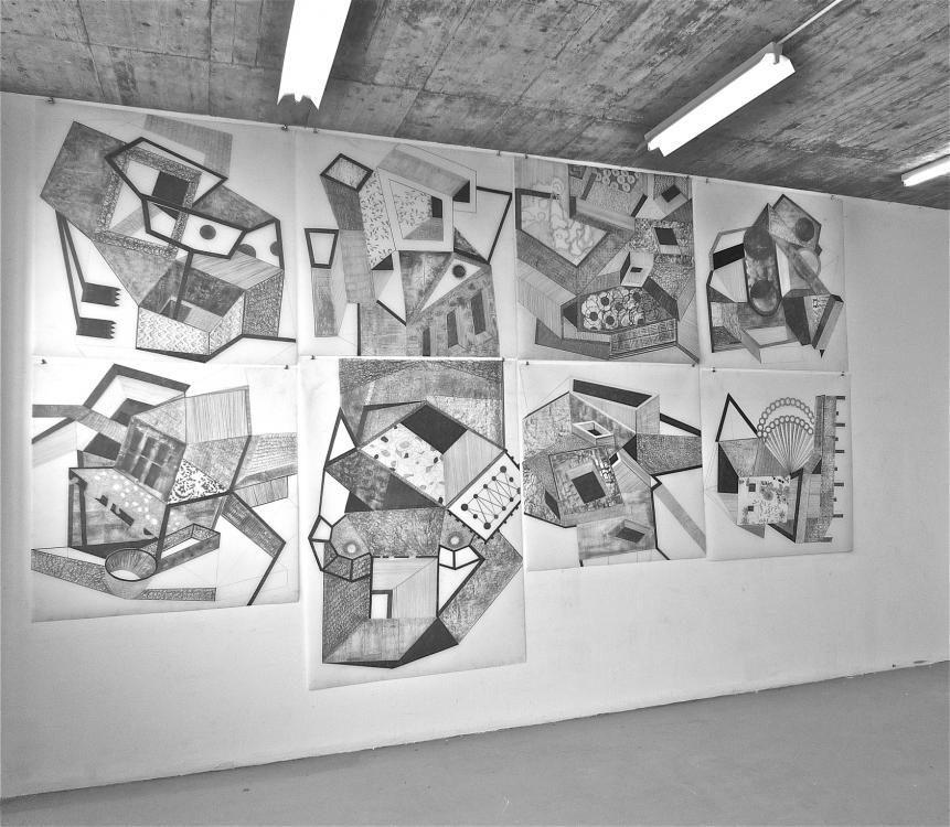 Kippräume 2012 - 7 Blätter 127x127/127x182 - Grafit auf Transparentfolie