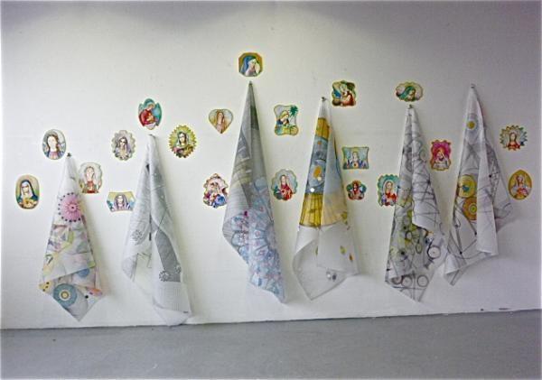 We have hopes……. 2012 - Wandinstallation Aquarell auf Holztafel, Zeichnung auf Transparentfolie