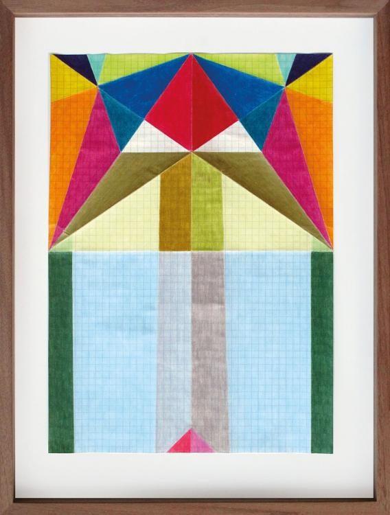 Broadwing Fliege, aus der Serie: Zeichnen mit Konzept auf Karopapier, 2013, Karoblätter, 80 Farbstifte, 37,4 x 28,1 cm