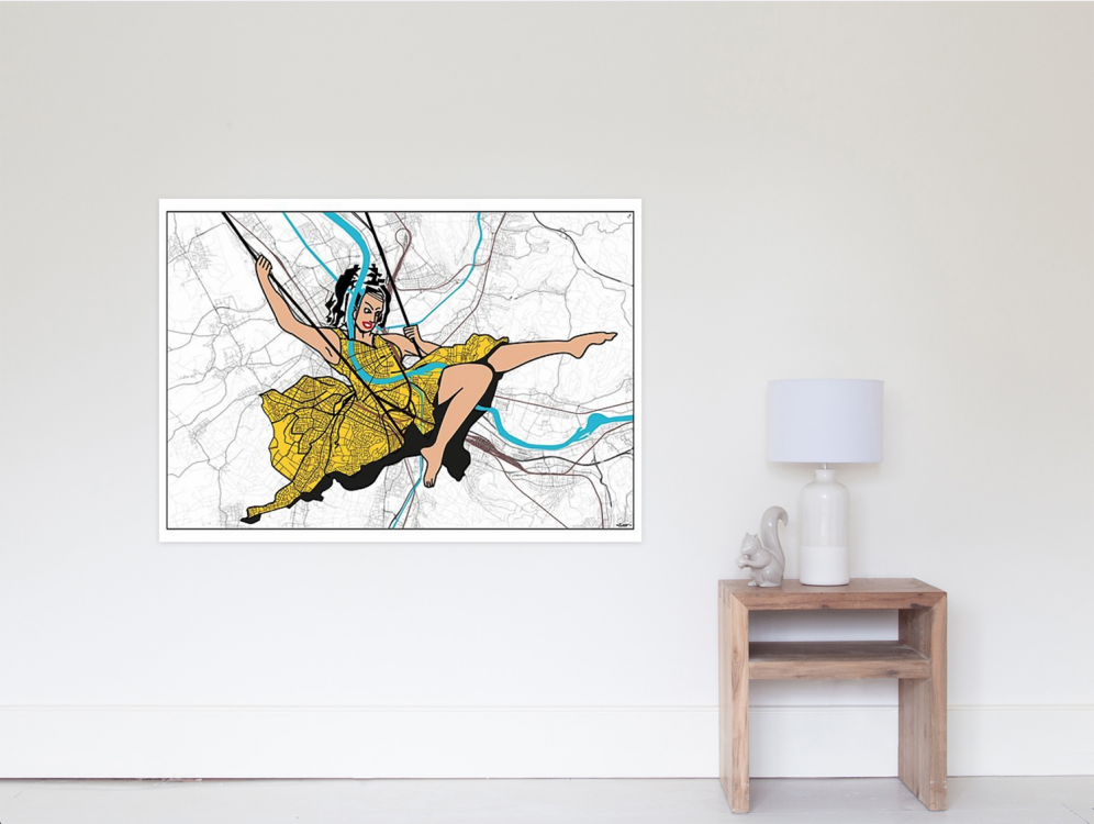 ESCARPOLETTE, 2018, 120x80cm, #baselcitymapping Print on Canvas