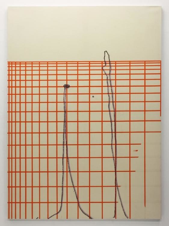 Blow-Up 109, 2014, 230 x 170 cm, Bleistift, Farbstift, Oel auf ungrundierter Leinwand