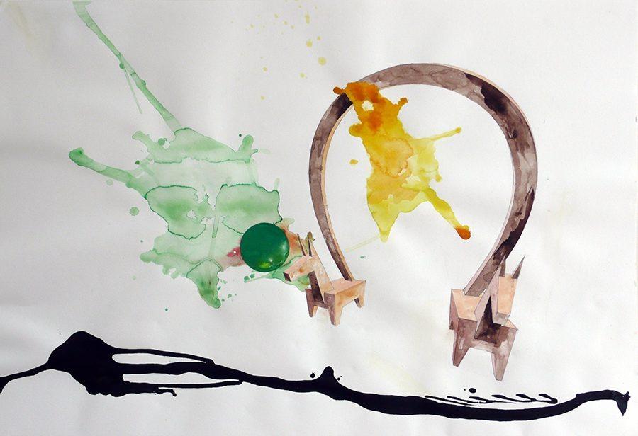 o.T., 2013, 80 auf 120 cm, 2013, Aquarell auf Papier
