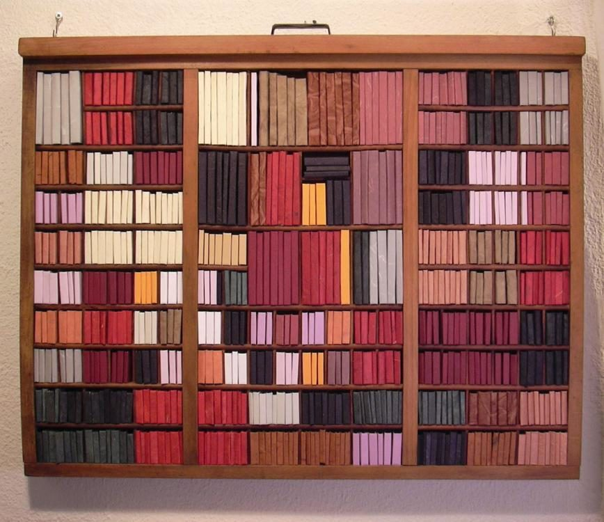Dream Library, 2007, 52 x 66 cm, 585 handmade books in wooden drawer