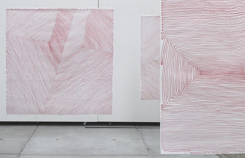 Red Line 11:10, Wedding auf Cinapapier, 140x140cm, 2016