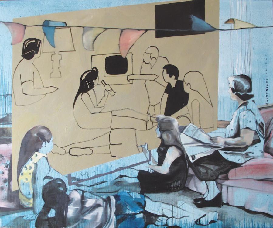 Die Fernseher, 2012, Öl und Acryl auf Leinwand
