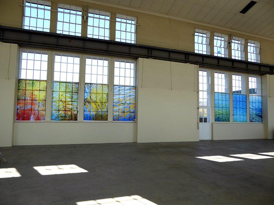 Installation Kultur im Kraftwerk in Augst, Sublimationsdruck auf Stoff 200 x 128 cm je