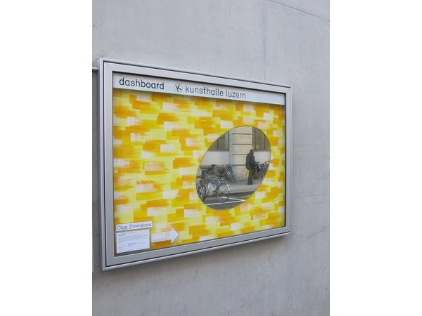 """Olga Zimmelova """"Spiegel im Bild"""" 2015  89x128 cm, Spiegel Tempera u Acryl auf Sperrholzplatte, Foto Lotta Gadola"""